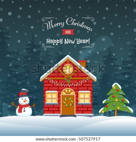 Christmas House Covered Snow With Snowman And Spruce. Greeting Card Background Poster. Vector Illustration.