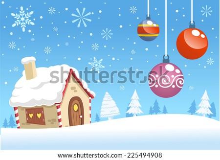 Christmas house decoration background design vector cartoon illustration - stock vector
