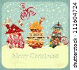Christmas houses and snow - postcard in retro style - vector illustration - stock vector