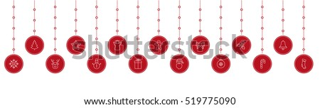 christmas icon red bauble hanging white background