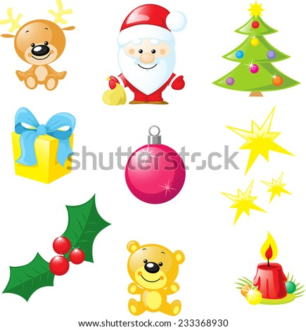 christmas icon - santa, xmas tree, candle, reindeer, star, gift, bear, xmas ball isolated on white background - stock vector