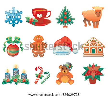 Christmas icon set containing 12 icons with winter holidays symbols.
