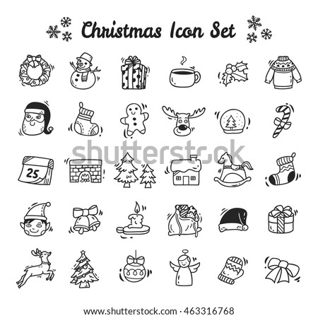 Christmas icon set in doodle style