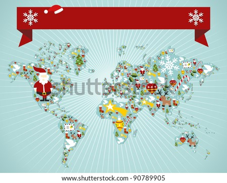 Christmas icon set in globe world map background with blank space banner. Vector file available. - stock vector
