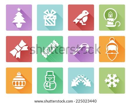 Christmas icon set including Santa, snow flake, cracker, holly, ribbon and lots more - stock vector