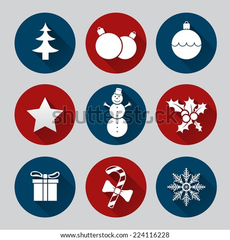 Christmas icon set of nine flat style - stock vector
