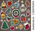 Christmas icon set of xmas decorations and winter things - stock photo