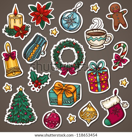 Christmas icon set of xmas decorations and winter things - stock vector