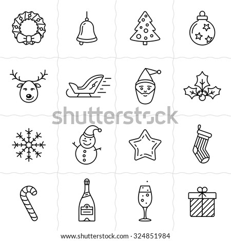 Christmas icon set. Simple outlined icons. Linear style - stock vector