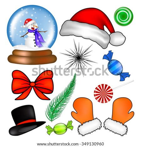 Christmas icon set, symbol, design. Winter vector illustration isolated on white background.