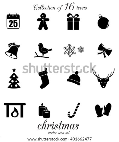 Christmas icon set. Vector art.