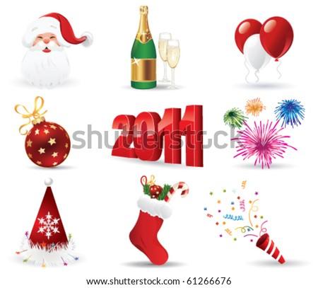 Christmas Icon Set. Vector Illustration - stock vector