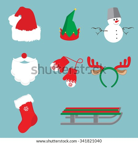 Christmas icon set with santa claus, reindeer horns, mittens, snowman, gnome hat, christmas sock and sledge - stock vector