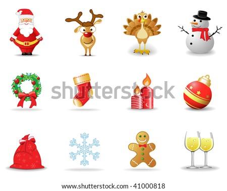 Christmas icons 2 - stock vector