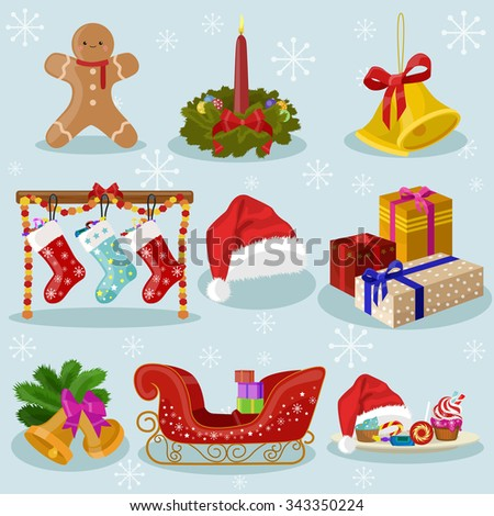 Christmas Icons and attributes vector image design set for you illustration, design, postcards, labels, stickers and other creative needs.