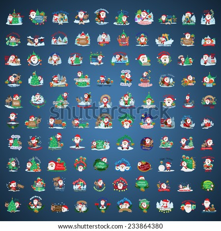 Christmas Icons And Elements Set - Isolated On Blue Background - Vector Illustration, Graphic Design Editable For Your Design, Collection Of Christmas Icons - stock vector