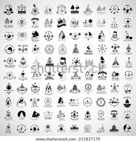 Christmas Icons And Elements Set - Isolated On Gray Background - Vector Illustration, Graphic Design Editable For Your Design   - stock vector