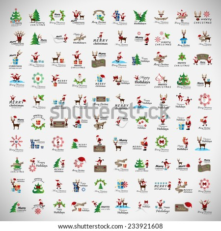 Christmas Icons And Elements Set - Isolated On Gray Background - Vector Illustration, Graphic Design Editable For Your Design, Collection Of Christmas Icons - stock vector