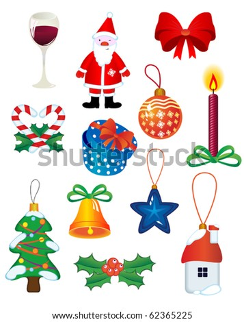 Christmas icons and symbols for design isolated on white - also as emblem. Jpeg version also available - stock vector