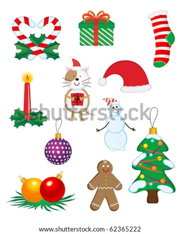 Christmas icons and symbols for design isolated on white. Jpeg version also available in gallery - stock vector