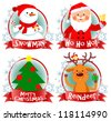 Christmas icons, cartoon characters - stock