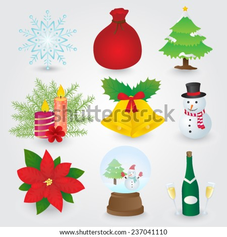 Christmas Icons Collection - stock vector