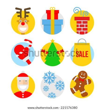Christmas icons, flat design, vector illustration - stock vector
