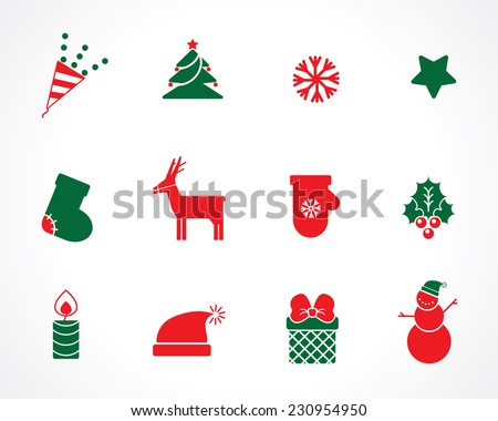 Christmas icons for decorations - stock vector