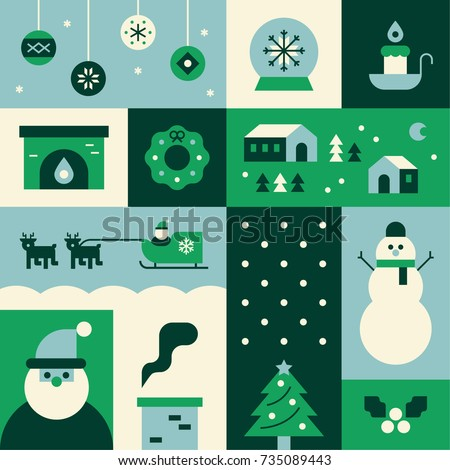 Christmas icons green section poster vector illustration flat design