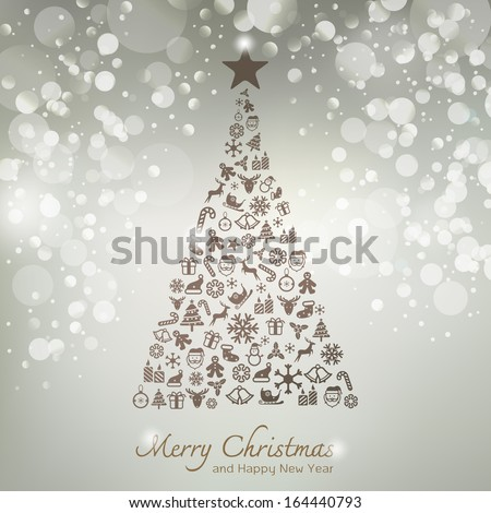 Christmas icons in pine tree shape greeting card background
