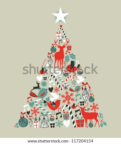 Christmas icons in pine tree shape greeting card background. Vector illustration layered for easy manipulation and custom coloring. - stock vector