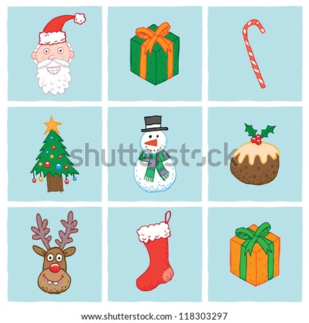 Christmas Icons, including Santa, gift, candy cane, Christmas tree, snowman, Christmas pudding, Reindeer and stocking.