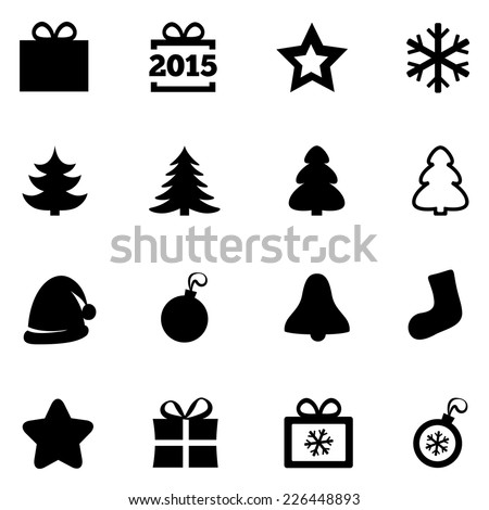 Christmas icons. New Year 2015 signs. Vector black icons set. Christmas gift box, ball, snowflake, tree, star. Flat symbols. On white.