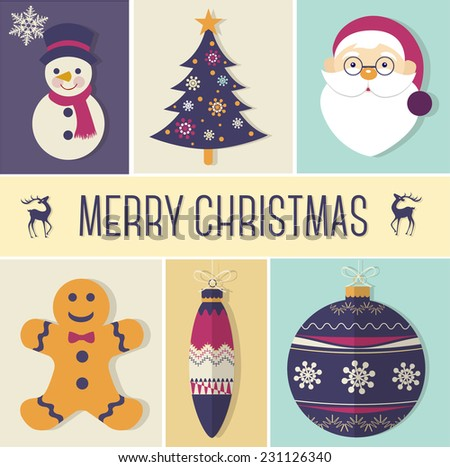 Christmas icons, objects collection, decoration - stock vector