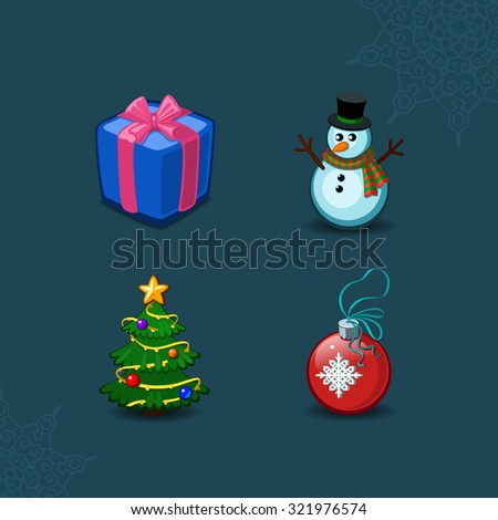 Christmas icons objects collection. Detailed vector illustration eps 10