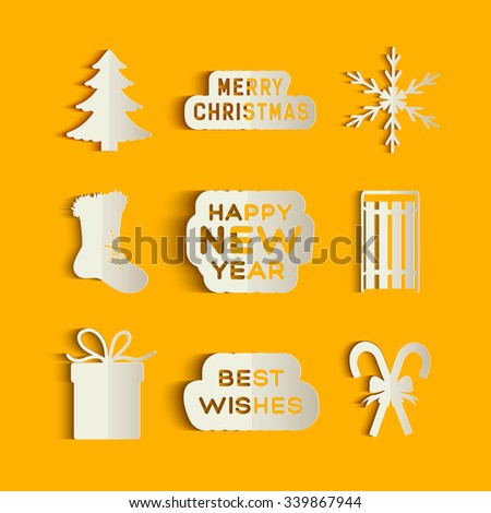 Christmas icons of tree, gift, candy cane, snowflake, sledge and gratters in paper style. Vector Illustration, eps10, contains transparencies. - stock vector
