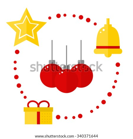 Christmas icons on white background. Christmas decoration. Christmas isolated icons on circle template. Red balls, golden bell, golden star, present. Flat style vector illustration.
