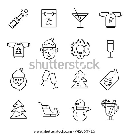 Christmas icons - Santa Claus, elf and champagne