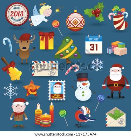 Christmas icons set - stock vector