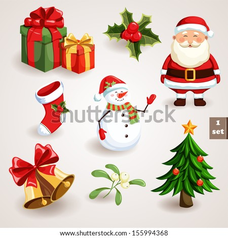 Christmas icons set. Holiday objects collection. Vector illustration - stock vector