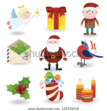 Christmas icons set #2 Illustration is eps 10 and contains transparency effects. Transparency effects - star and candy - stock vector