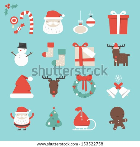 Christmas Icons set, vector - stock vector