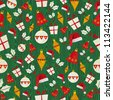 Christmas icons shape seamless pattern background. Vector illustration layered for easy manipulation and custom coloring. - stock vector