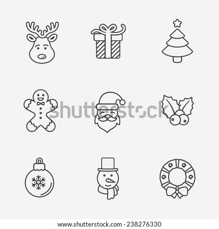 Christmas icons, thin line style, on white. - stock vector