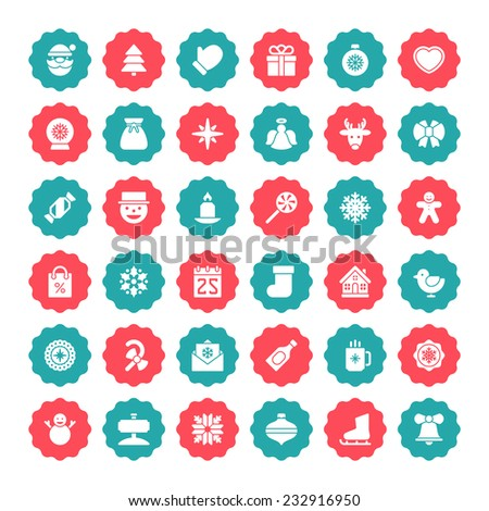 Christmas icons vector set. Christmas decorations objects and symbols collection. - stock vector