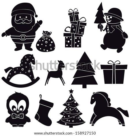 Christmas icons. Vector set, EPS 8. - stock vector