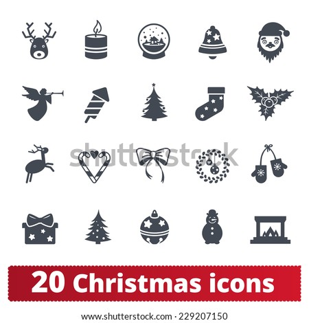 Christmas icons: winter vector set of xmas and happy new year signs - stock vector