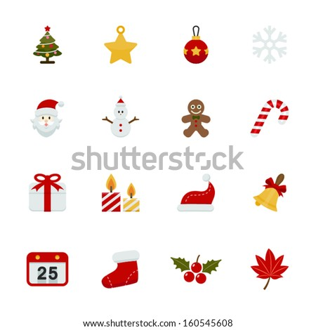 Christmas Icons with White Background - stock vector