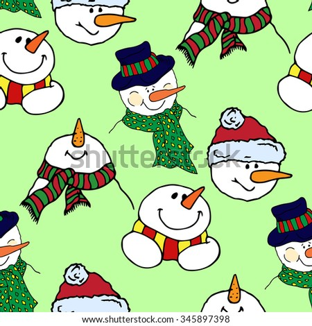 Christmas illustration. Colorful snowmen. New Year card. Seamless pattern. - stock vector