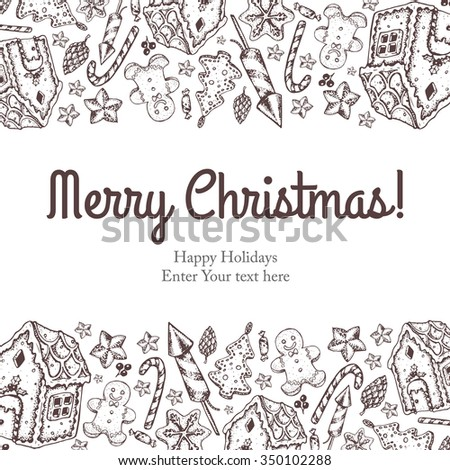 Christmas illustration menu with the vector hand painted elements. Holiday collection of invitations, cartoon sketch objects. - stock vector